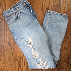 Levi's Original 501 High Waisted Ripped Mom Jeans